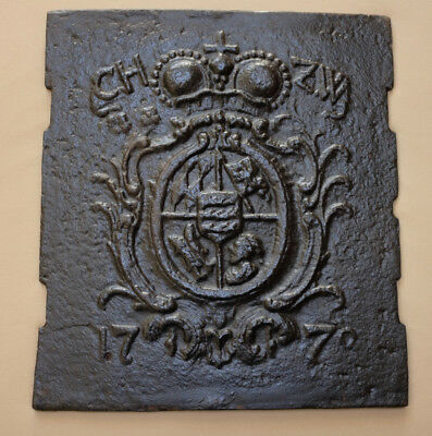 Antique ornamental cast iron fireplace cover