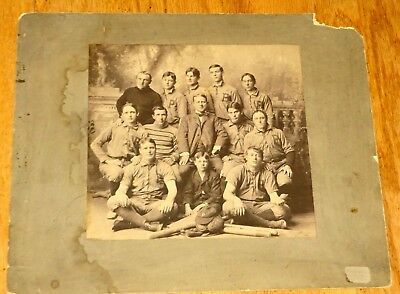 Large Late 1800s Cabinet Photo Baseball Team in Uniform with Equipment