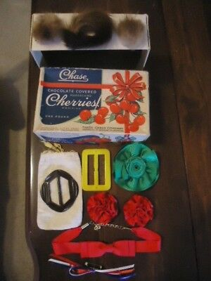 1930's Rare Chase Chocolate Covered Cherry Candy Box, Fur Fashion Accessories