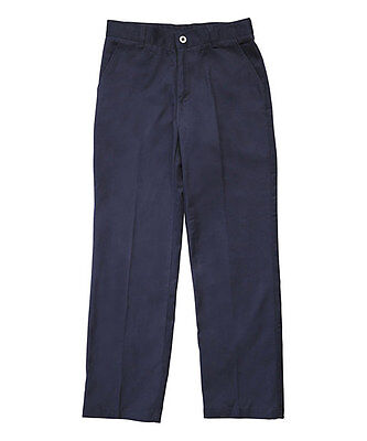 French Toast Boys Pants Navy 12 Adjustable Waist Double Knee Twill Flat Front