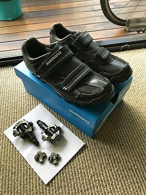 Shimano SPD M065 cycling shoes (Size EU 42, US 8.5) & M520 clipless pedals black