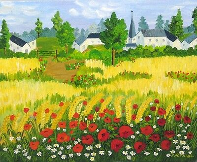 Vintage French Painting, Landscape, Wheat Fields, Red Poppies, Daisies, Signed