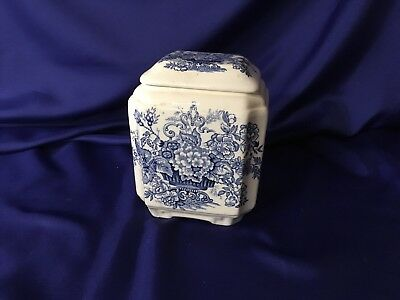 MASON'S PATENT IRONSTONE ASCOT Tea canister WITH BLUE FLORAL