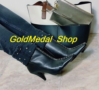 476e52f7a3f3 ZARA HIGH HEEL Leather New Ankle Boots With Studs US EUR 6.5 37  7.5 ...