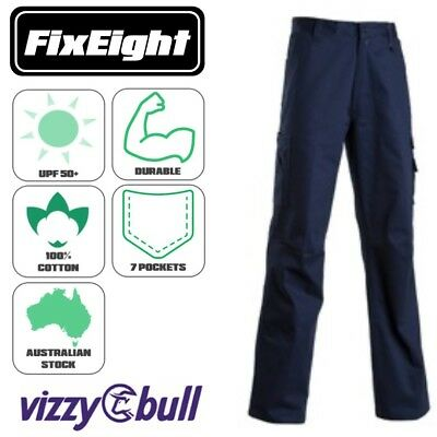 Mens Cargo Drill Work Pants - Navy - 290 GSM - UPF50+