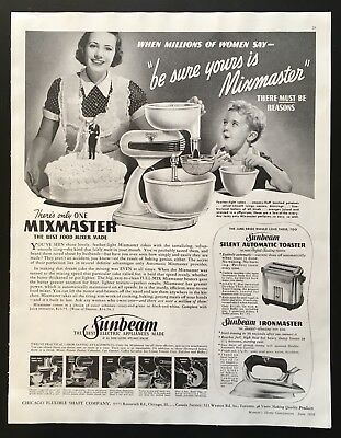 1938 Sunbeam electric appliances mixmaster 1930's wedding cake vintage print ad