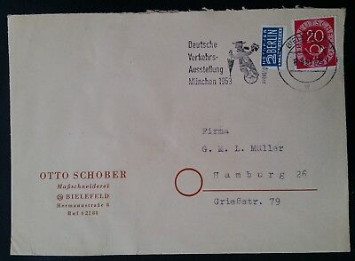 1953 Germany (Federal Rep.)Cover ties 2 stamps canc Bielefeld to Hamburg