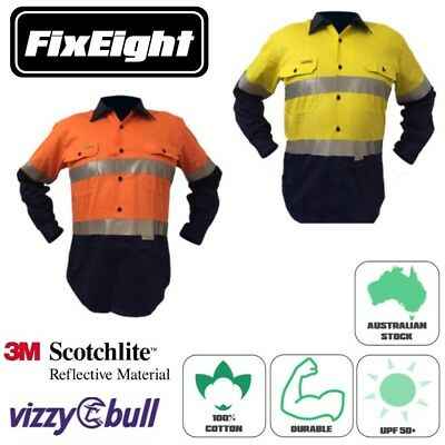New Mens Hi Vis Cotton Drill Work Safety Long Sleeve Shirt - 3M Tape