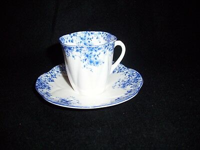 """Shelley Bone China Cup and Saucer """"Dainty Blue"""" Floral Pattern / England"""