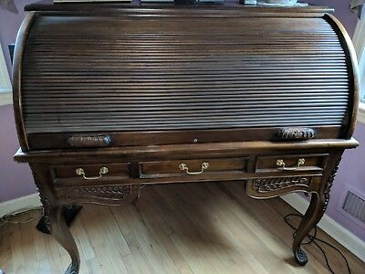 French Style Mahogany Roll Top Desk