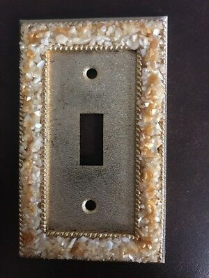 Vintage Brass Electrical Single Light Switch Plate Cover Crushed Seashell Border