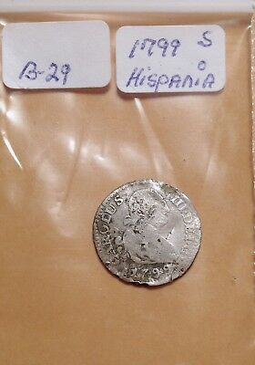 Silver shipwreck recovery coin from 1799AD Spanish