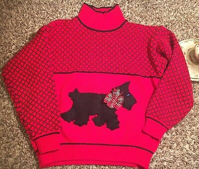 Vtg 90s Side By Side girls Scottie dog sweater Large