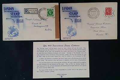 SCARCE 1950 Great Britain pair of London Stamp Exhibition Covers w caches
