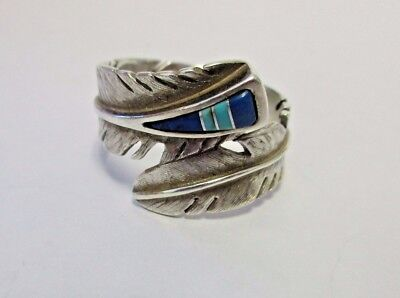 Signed Sterling M. Kirk  Inlay Ring Navajo Feather Size 9 Relios Carolyn Pollack