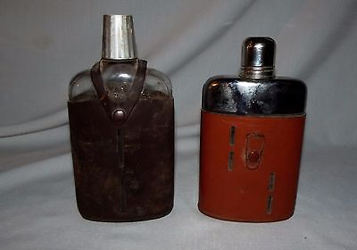 2 leather wrapped glass whiskey flasks Griffon Noymer real hide England english
