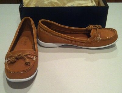 Women's Sebago Slip-On Loafer Shoes, Tan Brown, Size 7M, Leather, Pre-Owned.