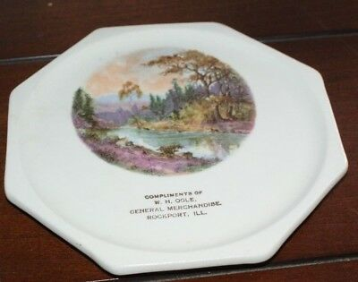 W.H. Ogle Rockport Illinois General Merchandise Harker Advertising Plate Octagon