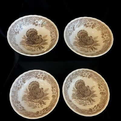 4 Queen's THANKSGIVING Brown Transferware Cereal Bowls Myott Factory Archive