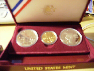 Olympic 3 Coin Proof Set - 1984 W $10 Gold - 1983 S & 1984 S Silver Dollars