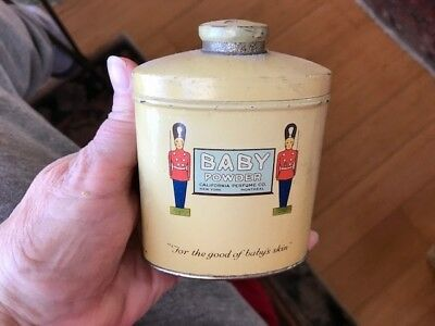 Graphic Baby Talcum Powder Tin Can Talc Avon CPC California Perfume Soldiers