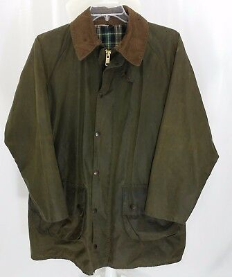 BARBOUR GAMEFAIR Waxed Cotton Field Plaid Lining Jacket sz 44 Large