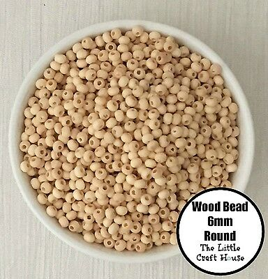 500 x 6mm Round Wood Spacer Bead Natural Unpainted Unfinished Wooden Beads Ball