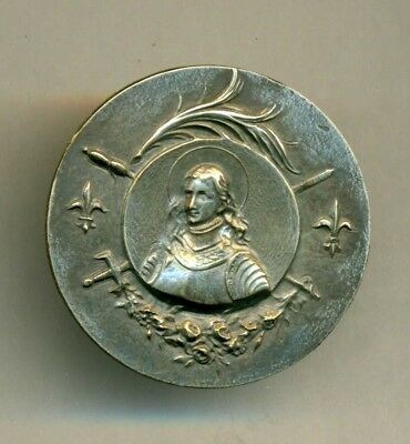 Antique Silver Metal JOAN OF ARC Button