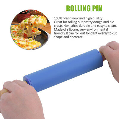 Environmental 29CM Wooden Handle Kitchen Non-stick Silicone Fondant Roller WR