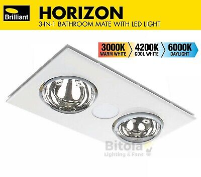 BRILLIANT HORIZON 2 CCT LED BATHROOM HEATER, EXHAUST FAN AND LIGHT 3-in-1 WHITE