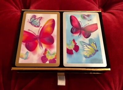 True Vintage Butterfly Congress Playing Cards Black Velvet Box Made in Spain