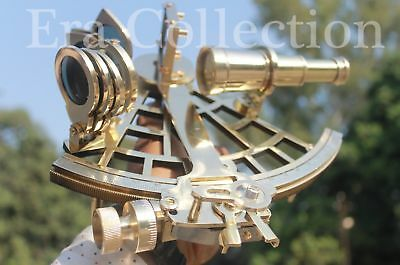 Solid-Brass-Sextant-Nautical-Marine-Instrument-Astrolabe-Ships-Maritime-Gift 9""