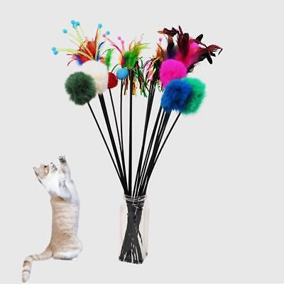 Pop Cat Kitten Pet Fun Turkey Feather Interactive Stick Toy Wire Chaser Wand A+