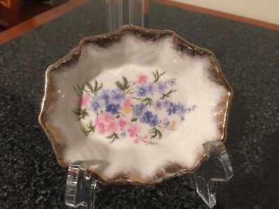 Vintage Queen Anne Bone China Dish Flowers And Gold