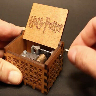 Antique Carved Wooden Hand Crank Harry Potter Classic Music Box Birthday Gift