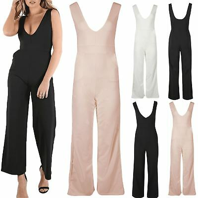 New Ladies Deep V Neck Side Pockets Low Back Womens Palazzo Playsuit Jumpsuit