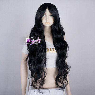 85CM Black Long Curly Cosplay Party Heat Resistant Wig