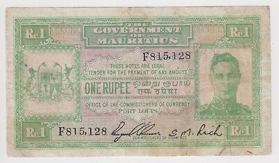 British Mauritius Banknote 1 Rupee 1940 P26 King George Fine Rare Free Shipping