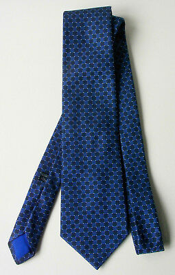 Men's Silk Tie,Frank Rostron,handmade in England,woven check,blues/white,vintage
