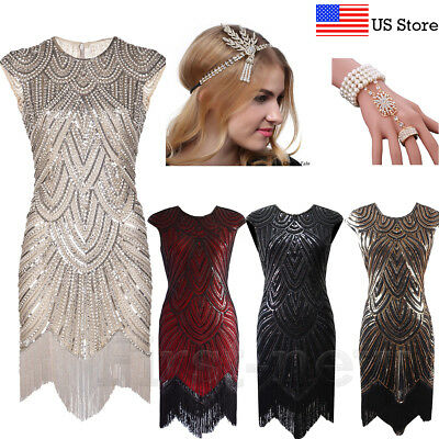 1920s Vintage Flapper Dress Gatsby Beaded Sequins Fringe Prom Gown Party Dresses