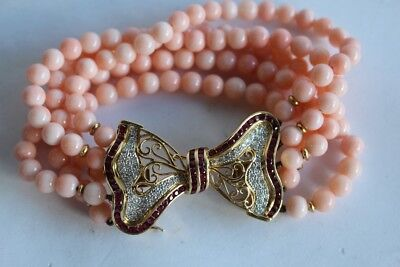 "Bracelet Corail Or Rubis et Diamants ""Noeud papillon"" (31276)"