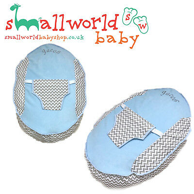 Personalised Boys Grey Zigzag And Blue Fleece Baby Bean Bag (NEXT DAY DISPATCH)