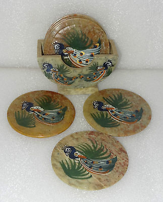 Marble Tea Coaster Set of 6 pcs Peacock Hand Painted Marquetry Kitchen Deco Gift