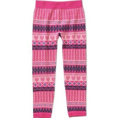 Girls Size 7-10 (M) Pinks & Blues Jacquard Leggings-Hearts-Squiggles-Triangles
