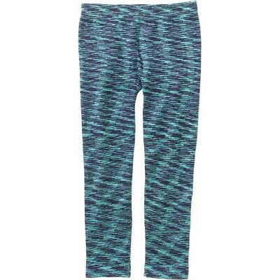 Girls 4-6X (S) Blues & Aqua Striped Fleece Leggings-NEW-Space Dyed-Faded Glory