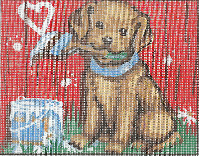 ARTISTIC PUPPY LOVE tapestry  20X25CM CANVAS ONLY OR KIT - YOUR CHOICE!