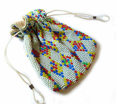 Vintage 1960's - 70's Candy Coloured Plastic Beaded Drawstring Purse