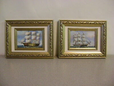 Set of Ship Oil on Canvas Painting Wood Frame  Marine Art Nautical 6.75 x 6.75