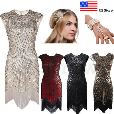 1920s Flapper Dresses Roaring 20s Great Gatsby Party Prom Cocktail Evening Dress