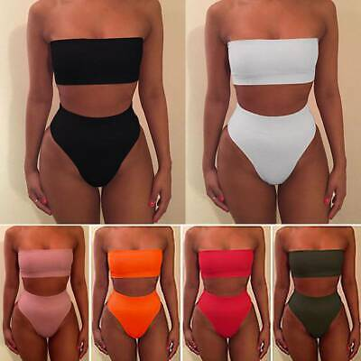 Retro Sexy Womens Bikini Set High Waisted Brazilian Bottom Swimsuit Bathing Suit